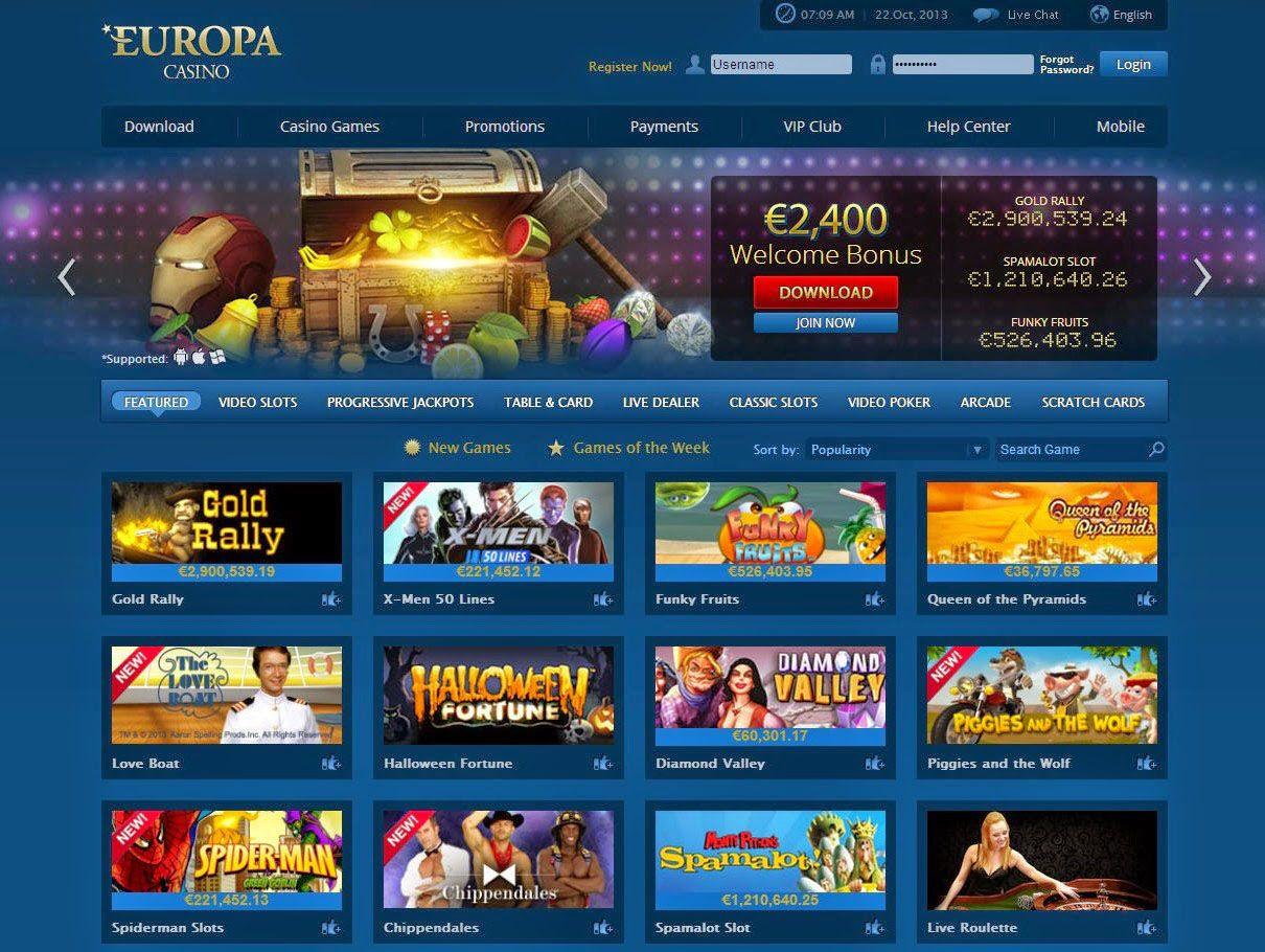 официальный сайт казино европы на карте